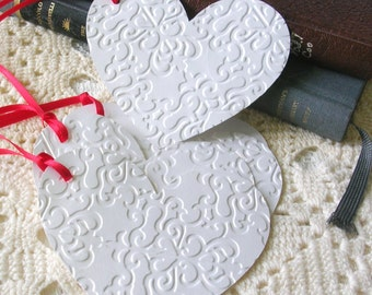 White Heart Gift Tags  - Wedding Anniversary Tags - Set of 6 Double Layer Shimmer Embossed Heart Tags
