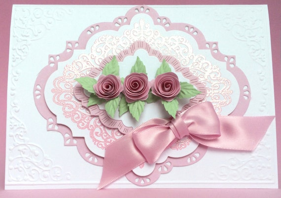 3d pink rose card handmade card anniversary card unique for 3d rose wedding invitations