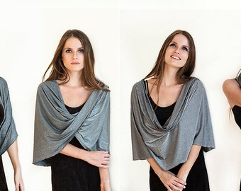 Gray elegant scarf shawl. Glittering and sparkling grey shawl with 4 wearing options- shawl , shrug , crisscross and scarf (GT110)