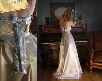 Golden silk satin gown, Wedding Dress, pastel wedding gown, yellow bridal, Hologram dress, Alternative Wedding Gown,  Maxi Wedding Dress,