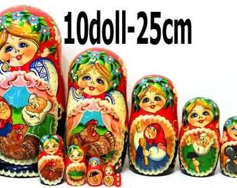 Nesting doll Kurochka Ryaba - russian matryoshka babushka dolls 10 doll kod294