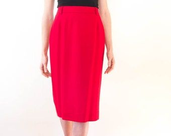 Vintage Red Wool Skirt with A-Line Silhouette