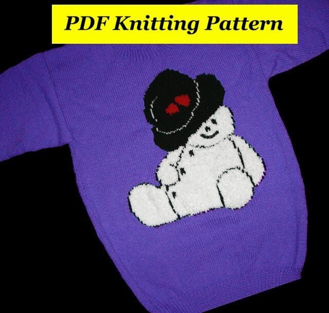 Childrens & Adults Christmas Snowman Jumper / Sweater Knitting