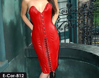 Genuine Soft Lambskin Leather Corset Dress