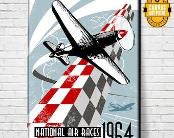 Airplane - Air Races - Canvas Art print, Airplane Decor, Pilot Gift, Aviation Gift, Airplane art, Man Cave art, Garage art, Aviation art