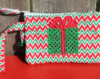70% OFF - Christmas Present Chevron Wristlet