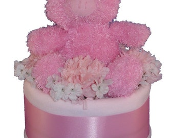 Baby Shower Cakes, Baby Gifts, Baby Shower Gifts, Diaper Cakes, Baby Cakes, Baby Shower Centerpieces,  Pink One Tier w/ Pig Stuffed Animal