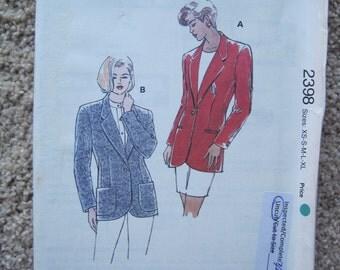 UNCUT Misses Blazer - Size XSmall, Small, Medium, Large, XLarge - Kwik Sew Pattern 2398- Vintage 1970's