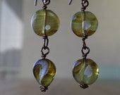 Vintage Chartreuse German Glass Beads Bronze Earrings