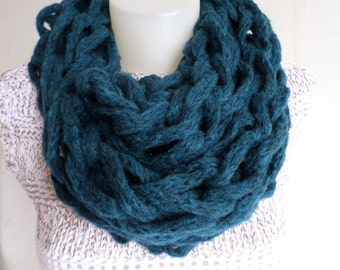 Arm knit chunky scarf, Teal blue scarf, Oversized scarf, Womens scarf, Winter accessories, blue scarf