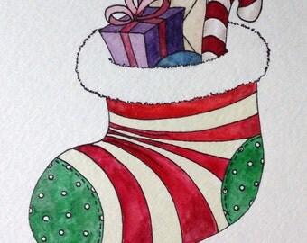 Handpainted Christmas Card, stocking