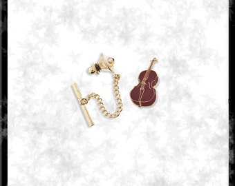 Gold & Cloisonné Cello Tie Tack - Free Shipping