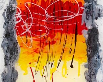 Fusion, Modern Abstract art, avrylic on plxeiglass