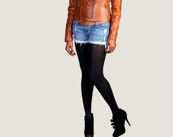 "The Cognac ""Emmanuelle"" Leather Motorcycle Jacket"