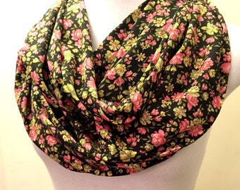Super Soft Black Floral Infinity Scarf