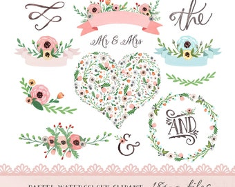 Watercolor Flower Clipart, Wedding floral Clip art, pastel flowers Clipart, wedding flowers clip art, Watercolour Hand Painted Clip Art