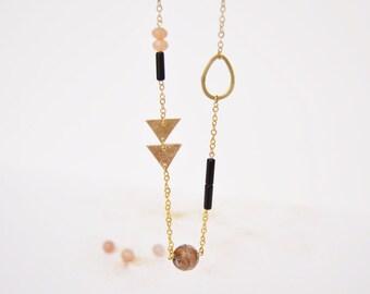 Minérale #2 necklace Art Deco necklace Semi precious stones jewellery Memphis graphic jewelry