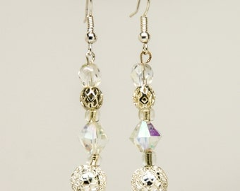silver and crystal earrings