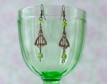 Vintage-style Art Deco Earrings with Olivine Swarovski Crystals