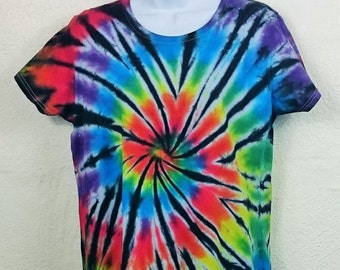 Rainbow tie dye, Rainbow t-shirt, Tie Dye T-Shirt, Women's tie dye, Women's t-shirt, 2XL women's top, Gay Pride, LGBT top, 16-18 UK t-shirt