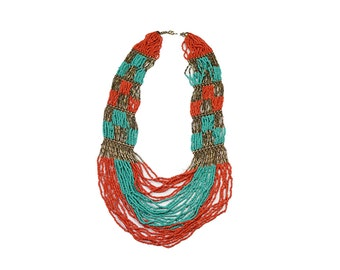 Handmade Coral Red, Turquoise, & Brass Ethnic Necklace, Bohemian Style, Layered, Statement Piece, Designer, Elegant, Unique, Chunky