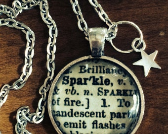 Word Pendant SPARKLE Dictionary Necklace Made from Antique Dictionary Definition Unique Gift Present