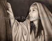 """Detailed Pencil Drawing of a woman who touched the hem of his garment in faith to be healed. """"I shall be Whole"""" by Amy Pectol Oberhansley"""