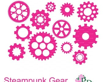 Steampunk Gear Cutting file Digital Die Cut (svg, dxf, png) cut ClipArt Digital instant Download Silhouette Cameo EasyCutPrintPD