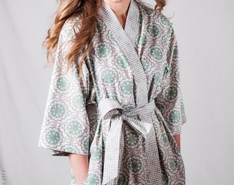 Maternity robe. Custom Maternity Kimono Robe. Mid calf. XS - Plus sizes. Pre & Post Delivery Hospital Nursing Gown. Cotton AGF Gray