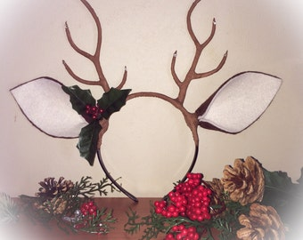 Deer Antler Headband Flower Crown Horns Christmas Halloween Costume Woodland Creature Cosplay