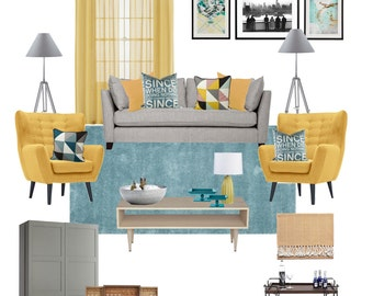 Interior Design Service online, eDesign. Complete Living Room design with scaled plan, moodboard and Shopping list. Easy and affordable