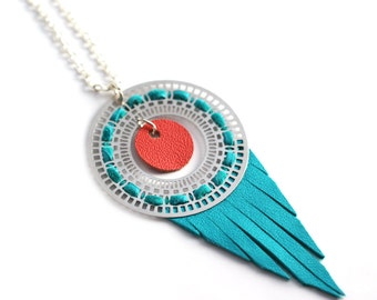 """leather long necklace """"romance"""" -long pendant- turquoise and coral necklace-leather jewelry-silver plated necklace-boho/hippie long necklace"""