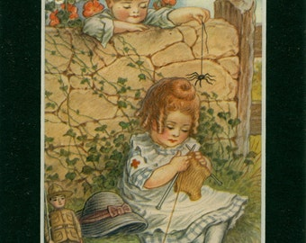 Vintage 1920 Mother Goose Book Plate Illustration - Little Miss Muffet - Nursery Rhyme - Matted