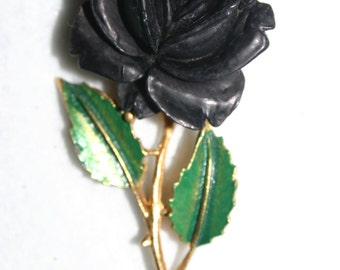 Vintage pin/brooch-black plastic rose flower-gold metal stem-green enamel leaves
