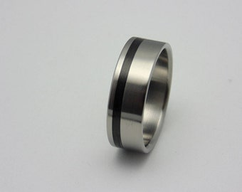 Titanium and Carbon fiber ring,  Handmade titanium wedding band, Gift for him