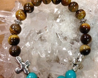Tiger Eye and Turquoise Beaded bracelet