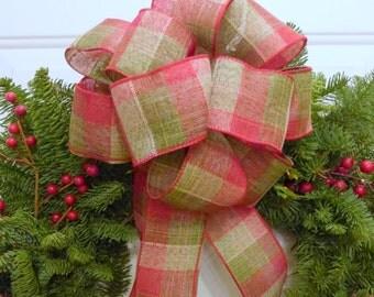 Plaid fabric ribbon, indoor/outdoor wreath ribbon, Christmas bow