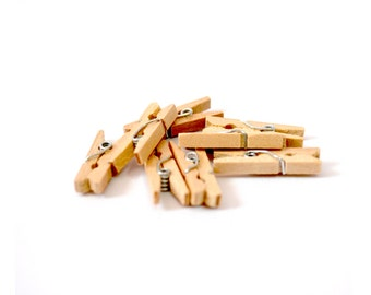 Mini Wooden Clothespins - Set of 8