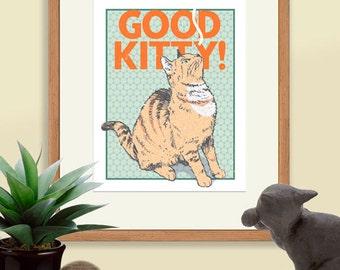 Good Kitty!, Orange Tiger Cat Digital Print, Cat Poster, Cat Art, Gift for Cat Lovers