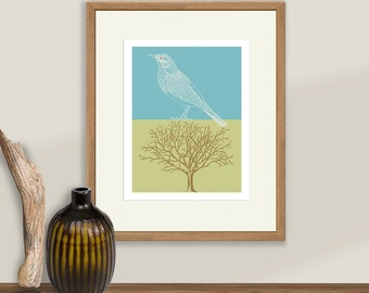Vintage Bird and Tree Art, Tree Woodcut, Bird Etching, Nature Print
