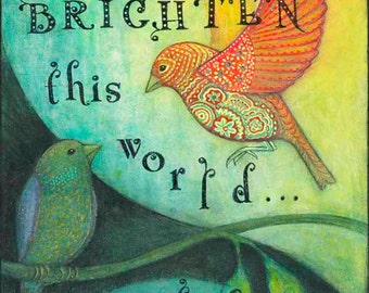 "Bird Art-8X10 Archival Print of Original Mixed Media Painting--""Beautiful One""--Pam Kapchinske"