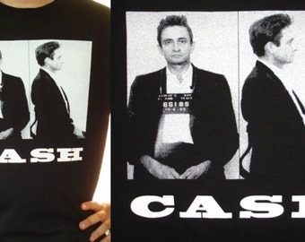 JOHNNY CASH 1965 El Paso Mugshot Premium Sueded T Shirt