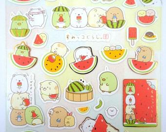 Sumikko Gurashi Japanese mochi creature stickers - kawaii bear and cat - penguin - tonkatsu - corner animals - watermelon fuit - San X - tub