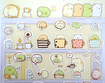 Sumikko Gurashi Japanese mochi animal stickers - kawaii bear and cat - adorable penguin - snail - tonkatsu - bubble tea - San-X - corner