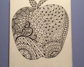 Zentangle Apple Original Ink Drawing