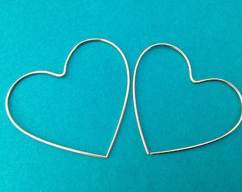 Gold Heart Hoops, 14K Gold-Filled Wire, Heart Shaped, Minimalist, Hoop Earrings Valentine Bridesmaid 14 karat KT Small Large