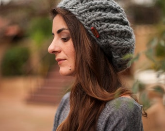 Hand Knit Winter Hat, Oversized Womens Wool Beanie, Custom Color