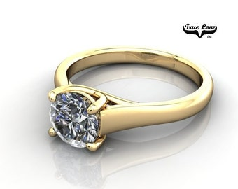 14 kt.Yellow Gold True Love One Carat Solitaire Round Forever  Brilliant Cut Moissanite Engagement Ring  #7016