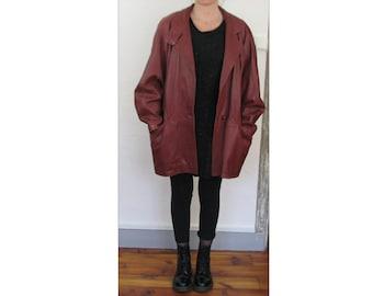 Red leather jacket size 38 40 42 Vintage 80