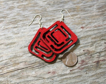 Red Felt Jewelry Laser Cut- square, modern jewelry, light weight, teacher gift, teenage girl gift, valentines gift, bff gift